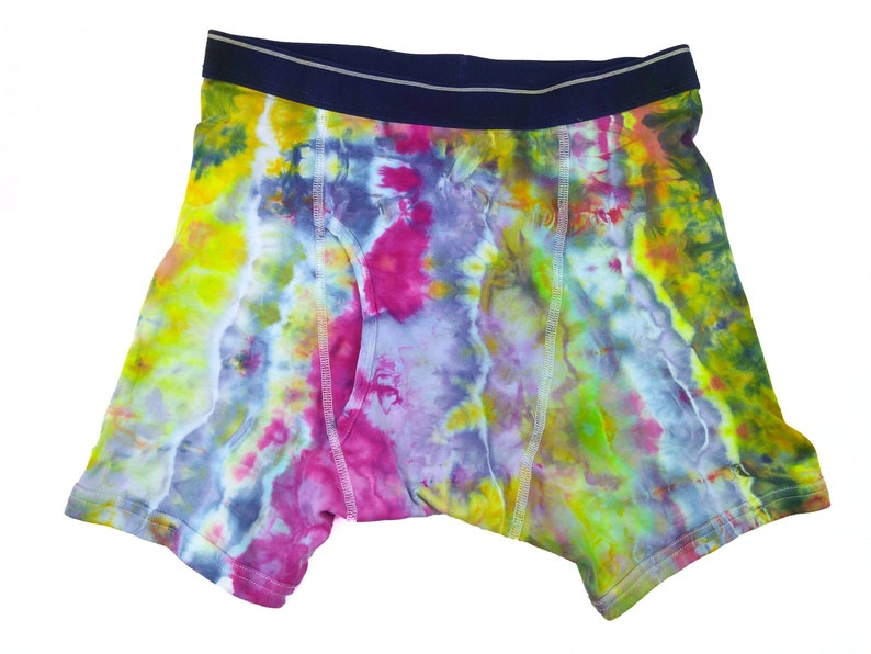 ice dye mens underwear with open fly pink stripe Large tie dye boxer briefs colorful cotton boxer briefs with contrasting waist band