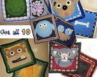 All 10 Animal Theme Granny Square Crochet PDF PATTERNS. Dog, Cat, Monkey, Bird, Frog, Heart, Flower. Immediate download