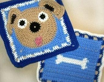 Ruff the Dog and Bone Granny Square Crochet PATTERN - Original - 2 different squares - PDF - Immediate Download