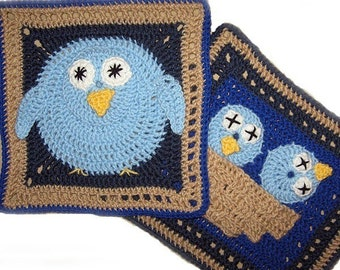 Bird, Granny Square PATTERN, PDF, Crochet, nest, 2 different large squares. Immediate Download