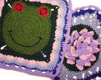 Frog, Flower Granny Square PATTERNS, PDF, Crochet, Animal, Frog, Flower, Lily, Lilypad, 2 different large squares - Immediate Download
