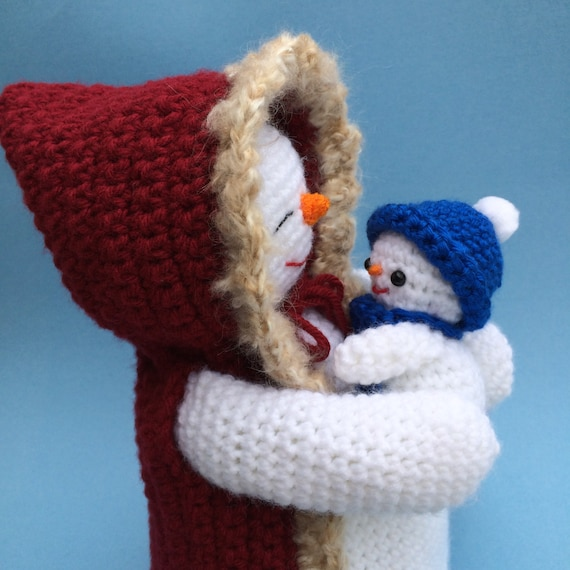 Pdf Crochet Pattern For Mommy And Baby Snowman English Only Etsy