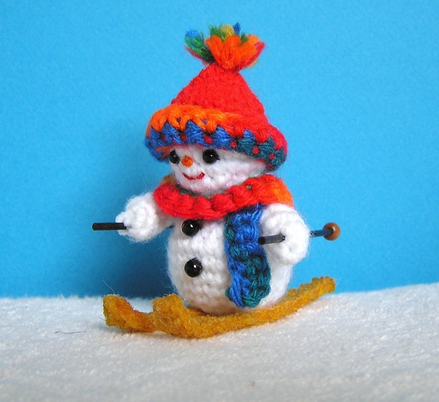 Pdf Crochet Pattern Mini Skiing Snowman English Only Etsy