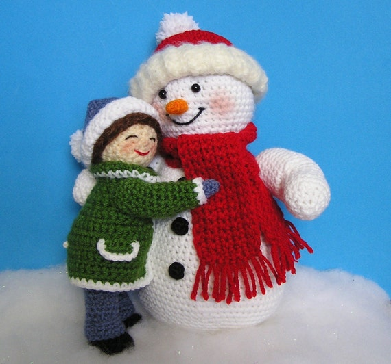 Pdf Crochet Pattern Little Girl And Snowman English Only