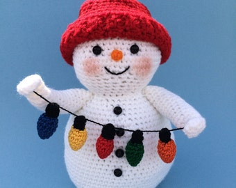 SNOWMAN WITH LIGHTS Pdf Crochet pattern (English only)
