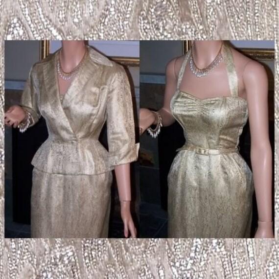 40's Gold Damask Wiggle Bombshell Halter Vintage D