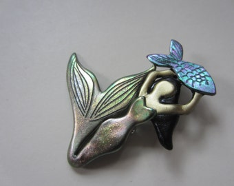 Mermaid brooch with iridescent shimmering tail  and fish pin