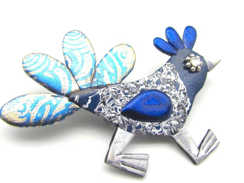 silver Wacky Bird Chicken Pin in Blue and gold brooch