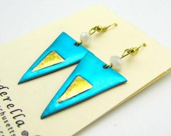Modern triangular Earrings in shimmering aqua and gold