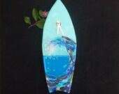 Wall clock,hanging, fused glass, wave, surfboard, blue, ocean
