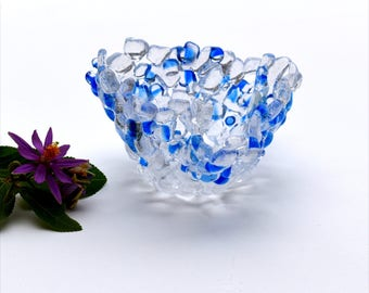 Fused glass candle holder, tea light, votive, transparent, blue, clear