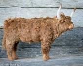 Felt Cow Sculpture - Needle Felted Scottish Highlander - Needle Felted Animal - Soft Sculpture - Felt Animal - Cow Decor - Farmhouse Décor