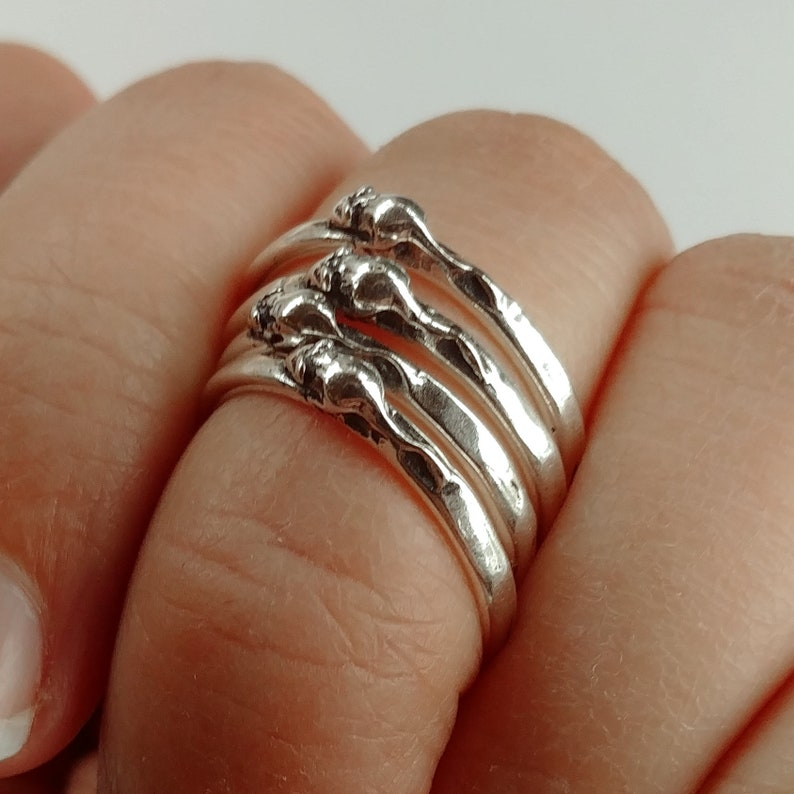 Tiny Mouse Sterling Silver Stackable Ring in Sterling Silver