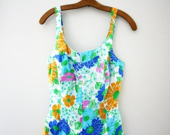 vintage 50s Gabar Playsuit Ladies Flower Power Groovy Summer Romper Bathing Suit // Size L
