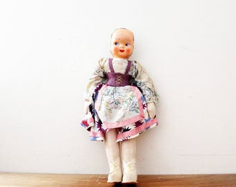 vintage 1940s Sweet Composite Face Polish Folk Doll with Traditional Dress