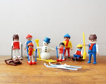 vintage 70s Playmobil Winter Sport Play Set 3467 Skis Sleds Snowmen Pretend Play Toy
