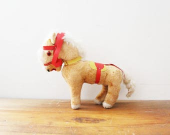 vintage 50s Toy Pony Horse named Macaroni with Red Sadle & Eyes Stuffed Animal