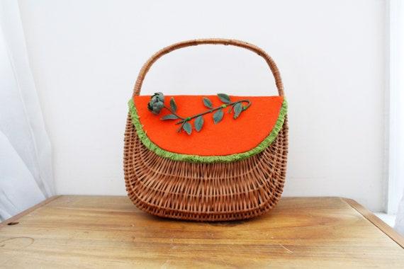 vintage 60s Orange & Green Flower Applique Felt Wo