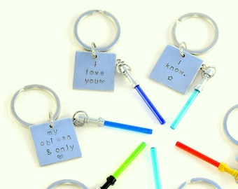 Lightsaber® Hand Stamped Keychains - 8 Quotes & 30 Color Combinations - Star Wars® Inspired Fan Art *Sale* Crafted From LEGO® Elements