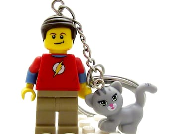 Dr. Sheldon Cooper® Inspired Big Bang Theory® With Soft Kitty - Figure, Keychain or Necklace *LAST ONE* Fan Art Crafted With LEGO® Elements