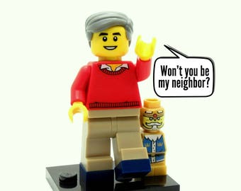 Mister Neighborhood Custom Figure, Keychain or Necklace Options *LIMITED* Fan Art Crafted From LEGO® Elements