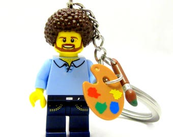 Happy Little Painter Custom Figure, Keychain OR Necklace *SALE* Fan Art Crafted With LEGO® Elements