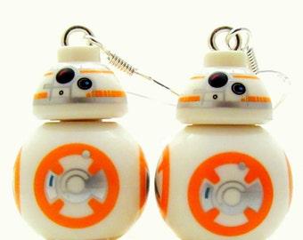 BB-8® Inspired Earrings -or- Necklace Star Wars® Fan Art - Sterling Silver - Fan Art Crafted From LEGO® Elements