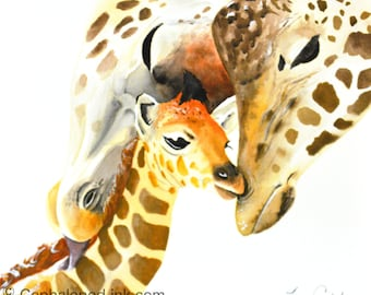 Giraffe #5 Art Print Watercolor, family 8x10