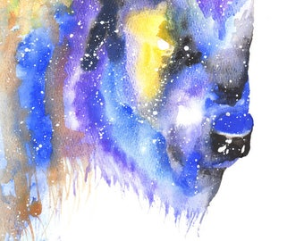 Bison Spirit Totem Animal ORIGINAL Galaxy Watercolor 9X12