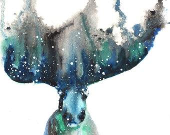 Moose ORIGINAL Watercolor 9X12, Galaxy Spirit Animal