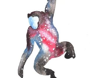 Bonobo ORIGINAL Watercolor 9X12, Galaxy Spirit Animal
