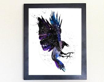 Raven / Crow Spirit Animal Art Print Watercolor Totem Guide
