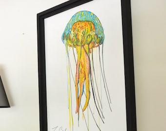 Jellyfish Original Painting, gouache watercolor, large framed art, 22 x 30