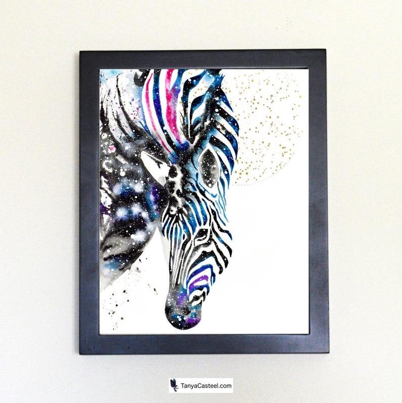 Cosmic Zebra Art Print Watercolor 8x10 image 0