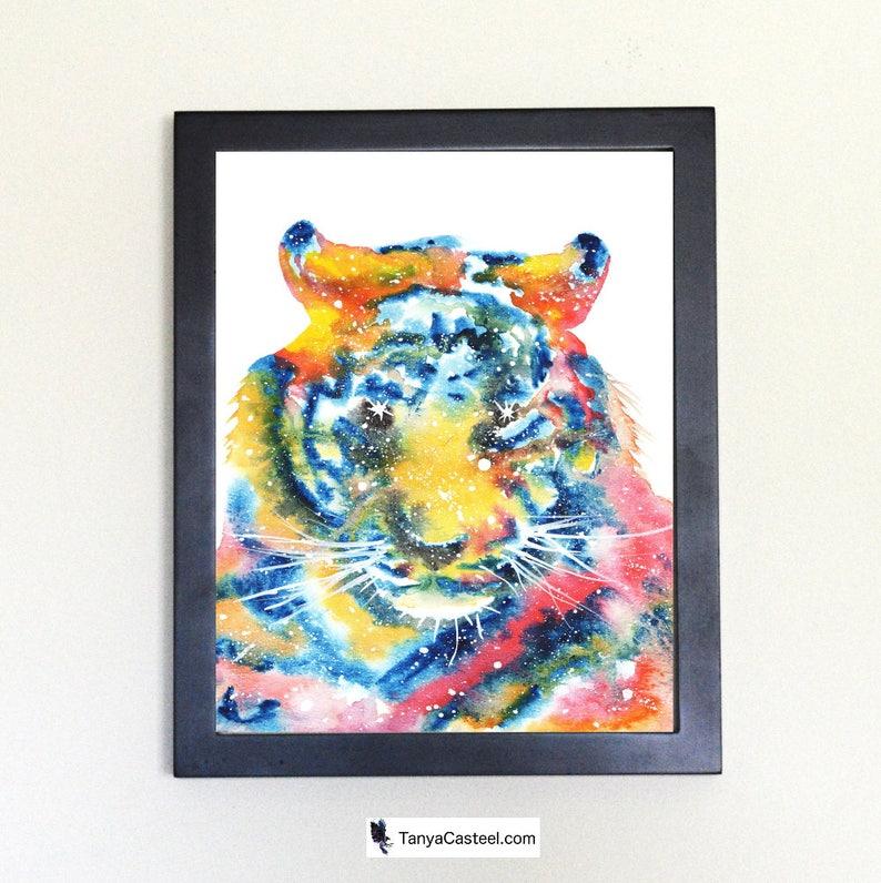 Cosmic Tiger Art Print Watercolor 8x10 image 0