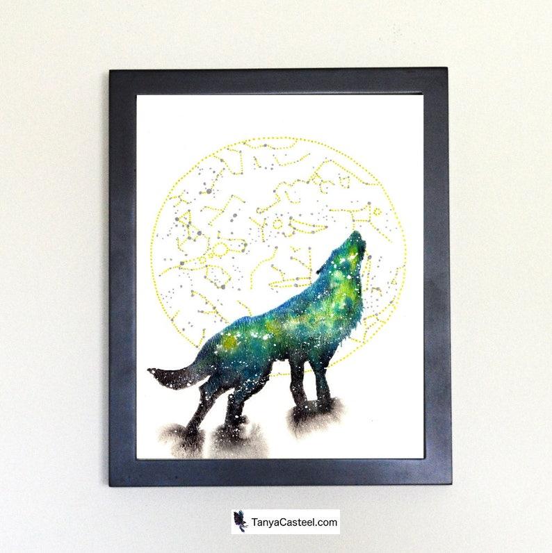 Cosmic Wolf Art Print Watercolor 8x10 image 0
