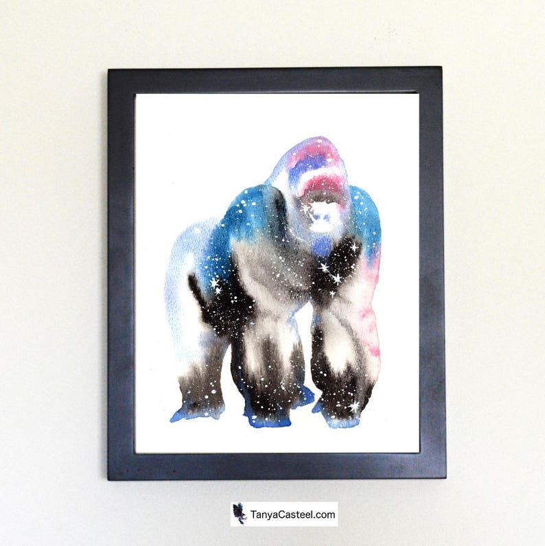 Gorilla Cosmic Animal Watercolor Art Print 8x10 image 0