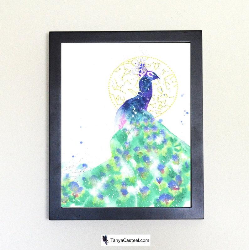 Cosmic Peacock Art Print Watercolor 8x10 image 0
