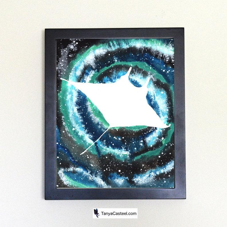 Cosmic Spiral Manta Ray Art Print Watercolor 8x10 image 0