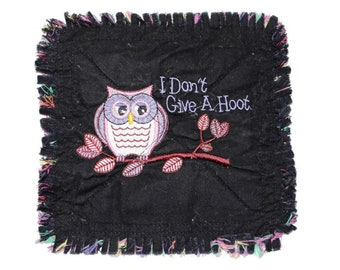 I Don't Give a Hoot Quilted Mug Rug, Fabric Coaster
