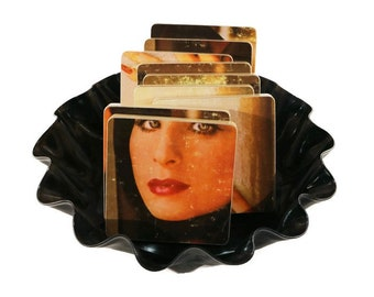 Reclaimed BARBRA STREISAND The Way We Were record album - handmade wood coasters and vinyl bowl