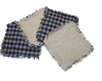 Set of 4 large mug rugs, Navy Plaid & Ecru Homespun Plaid Cotton quilted rag coasters
