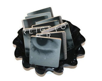 FOREIGNER  Reclaimed Inside Information record album - 9 wood based coasters with warped vinyl bowl