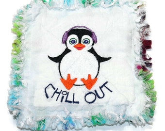 CHILL OUT Quilted Mug Rug, Fabric Coaster