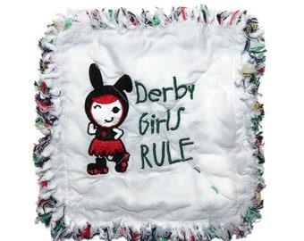 DERBY GIRLS RULE Quilted Mug Rug, Fabric Coaster