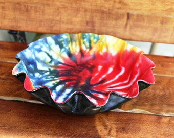 Into the Spiral - Tie Dyed Recycled Vinyl Record Bowl, Retro decorating for the music lover