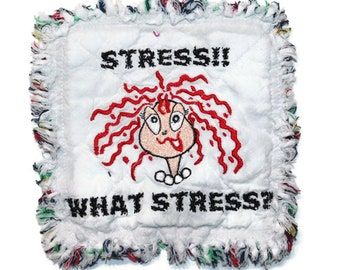 CRAZY STRESS Quilted Mug Rug, Fabric Coaster