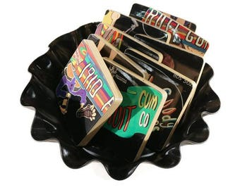Reclaimed 1910 FRUITGUM COMPANY Goody Goody Gumdrops record album, art coasters with vinyl basket