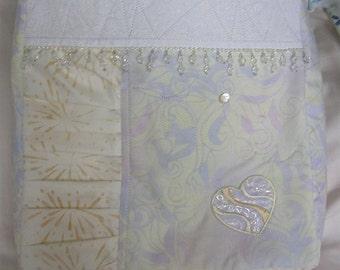 DESTASH - White Batik Cotton Quilted Wedding Tote