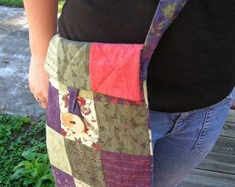 DESTASH - THE WOODS large quilted flannel cotton messenger bag book tote